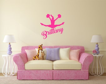 Cheerleader Wall Decal-personalized, cheerleader, custom colors, sports decal, athletic, wall art, wall stickers, viny