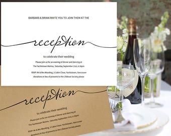 Printable Reception Only Invitation, Wedding Printable, Wedding Invitation Editable, Simple Wedding Reception Invitation, Reception Card