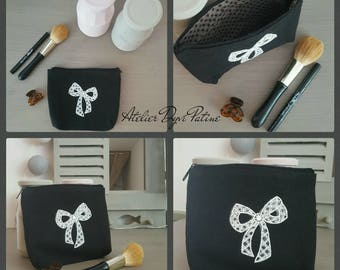 Black Lace white lace bow clutch