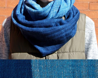 Dark Blue Indigo Ombre Circle Scarf, Handwoven Natural Dye