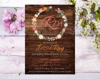 elegant flower wreath baby shower invitation rustic simple baby shower invite flower baby shower wood pink baby shower baby shower invite