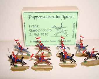 Eight Vintage Miniature Flat Tin Guards on Horseback!  Painted on Both Sides!  Original Packaging!  Flat Tin Figures!