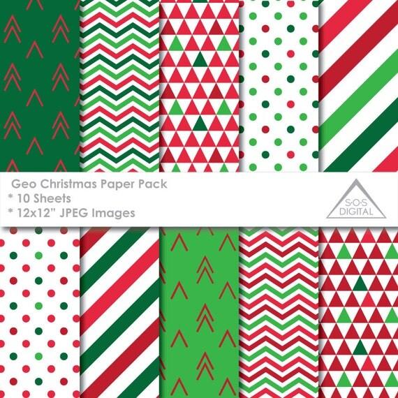 Christmas Digital Paper Pack, Geometric Christmas Patterns, Modern ...
