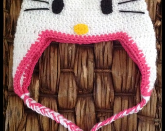 Hello Kitty inspired crochet hat // baby shower gift // Toddler gift