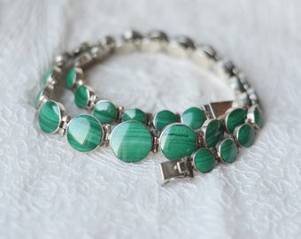 Mexico statement real sterling silver and malachite necklace hinged