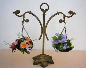 Decorative Brass Scales of Justice, Ornamental Fixed Balance