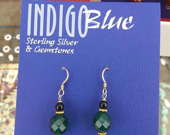 Handmade Green and Black Onyx Earrings Gold Filled