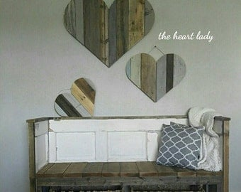 Set of 3 rustic wood heart cut outs