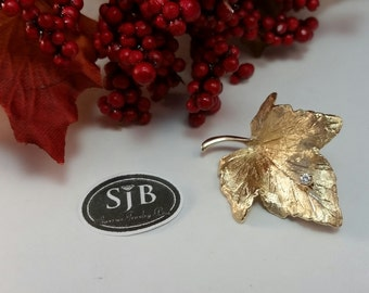 Maple Leaf Pins, 14k yellow gold Maple leaf Brooch with .04ct Diamond Accent, 14k Gold Diamond Leaf Pin, 14k Gold Statement Jewelry #C185
