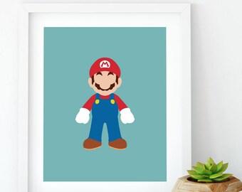 Mario (Super Mario/Nintendo), Minimalist Art, Mario minimalist, Nintendo Printable