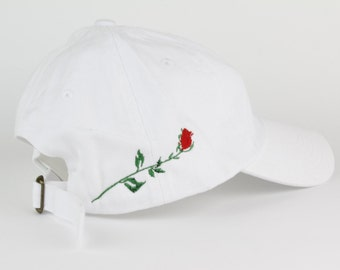 Rose Hat - White Script Embroidered Dad Hat - Side Design - Polo Hat - Curved Brim Six Panel Fabric Strap Hat - Brand New