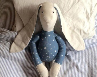 Handmade Organic Cotton Stuffed Bunny Toy