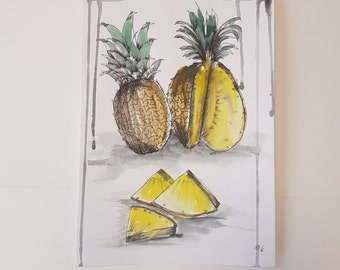 Pineapple badly drawn// Illustration// Drawing// Painting// OliSkyless// DIN A4