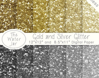 Digital Glitter Paper Pack, Digital Gold Glitter and Digital Silver Glitter, Silver and Gold Glitter Textures, Seamless Repeating Textures