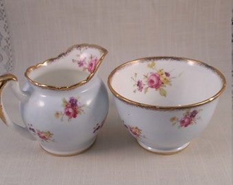EB Foley Individual Sugar and Creamer Set in Light Blue Porcelain with Pink Rose Pattern, Mini Sugar and Creamer Set,  Dining for 2.