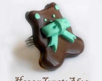 Kawaii Chocolate Bear Ring - Mint, Pink and White Chocolate with adjustable ring