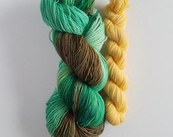 LINK- Heel/Toe Sock Set- 2 Coordinating Skeins Superwash Sock Yarn- Hand Dyed Superwash BFL Nylon- 480 yards total