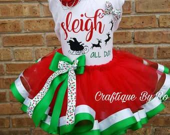Christmas Outfit for Girls - Sleigh Tutu Set - Holiday Outfit - Holiday Pictures; Reindeer Outfit - Holiday Outfit