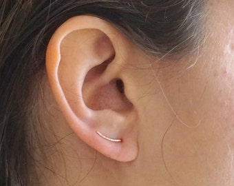 Curved Hammered Ear Climber Earring 14k Gold Fill Rose Gold Fill Sterling Silver Minimal jewelry threader jewelry Everyday earrings 058