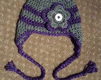 Crocheted Winter Hat with Flower