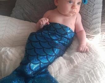 Mermaid Tail, Bra and Headband - Mermaid Outfit Baby Girl - Birthday Photo Prop - Mermaid Photo Prop - Newborn Photo Prop - Little Mermaid