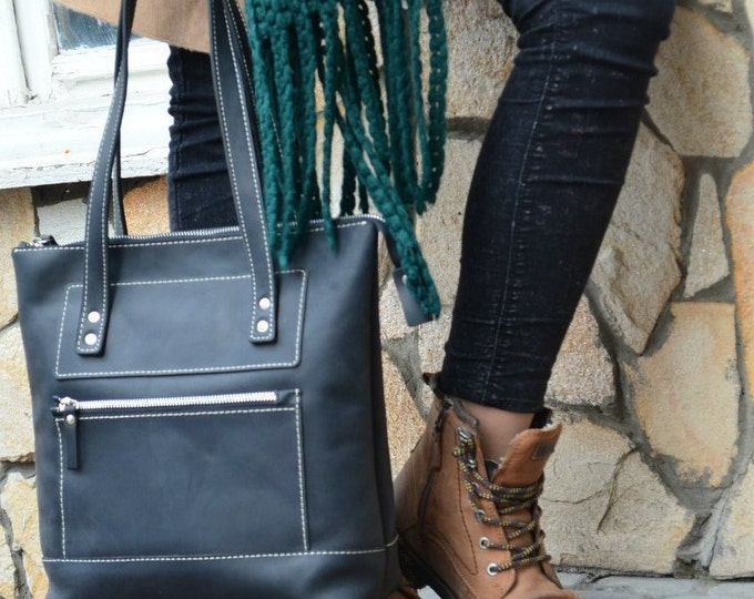 Leather Tote Bag Zipper + Zipper Bag + Large BlackTote Handles + Zippered Tote Bag + Leather Tote with Zipper + Leather Bag + Laptop Bag