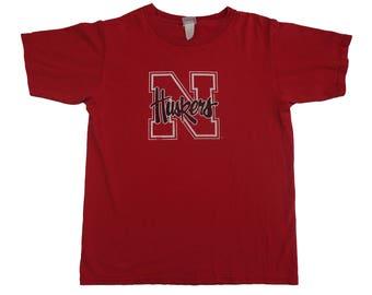 Vintage 80s 90s University of Nebraska Huskers Tee - Vintage Huskers NCAA Sports Big Ten U of N Tshirt - L