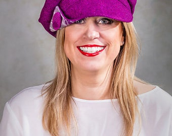 Womens Hat, Women's Bakerboy Cap, Harris Tweed, Sandy
