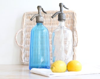 French Seltzer Bottle, Siphon Bottle, Carafe, Blue Seltzer, Clear Glass Seltzer Bottle, Blue Siphon, Set of Two Seltzers
