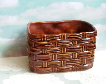1950s Basket Weave Planter or Bulb Box by Sylvac - Treacle Brown Glaze - No 2784 - Woven pattern