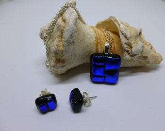 Blue dichroic and black fused glass stud earrings and pendant sterling silver fixings