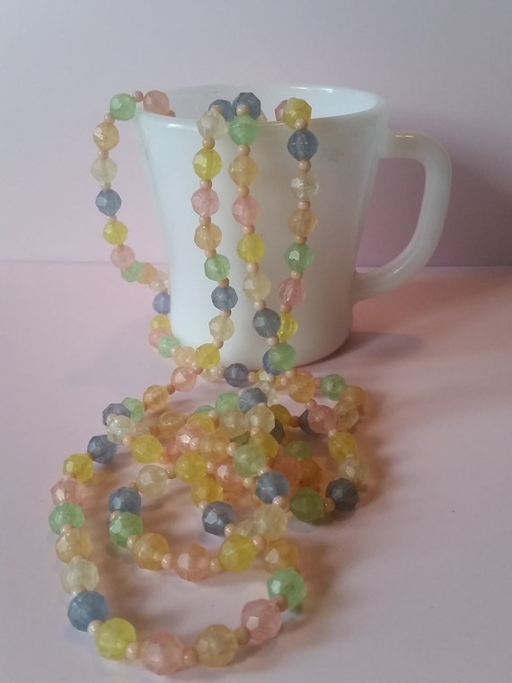 "Set of 3 Long Pastel Candy Colored Necklaces | 28"" / 31"" / 39"" 