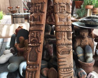 Mid Century Wooden Carved Primitive TOTEM Pole Legs Art Supply Your Imagination Native Style