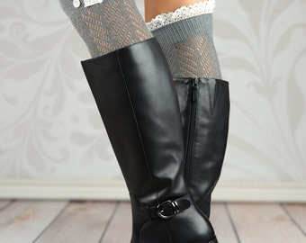 Gray Chevron Laced Boot Cuffs