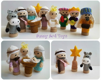 Crochet Nativity Finger puppets Christmas toy Nativity set Christmas creche Christmas Story Holiday Gift Christmas decor Kids gift baby gift