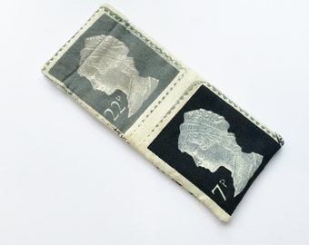 Men's Glasses/ Sunglasses Case - with UK stamps featuring the queen in grey and black print / Gift for him/ Father's Day