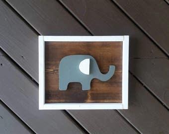 Elephant Framed Wood Sign, 3D Wood Sign, Nursery Signs, Wood Signs, Nursery Wood Signs, Nursery Decor, Nursery Wall Decor, Wall Hangings