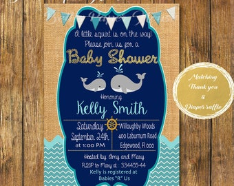 Digital file or Printed-Burlap Whale Baby Shower Invitation-Nautical Baby Shower Invitation-Under the Sea Baby Shower Boy-Free Shipping