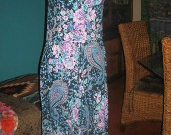S. Roberts Blue/Lavender/Black Beautiful Floral Design Dress