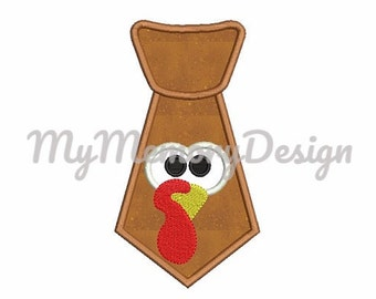 Thanksgiving embroidery design - Turkey applique design - Tie applique design - Machine embroidery design - Instant download - 3 size