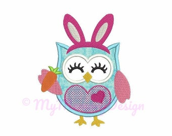 Owl embroidery design - Easter bunny embroidery - Owl applique - Machine embroidery digital file - INSTANT DOWNLOAD - 4x4 5x67 6x10 size