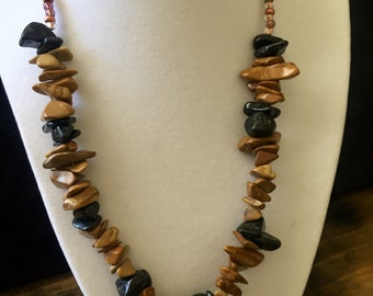 Blackstone and Jasper Beaded Necklace 20""