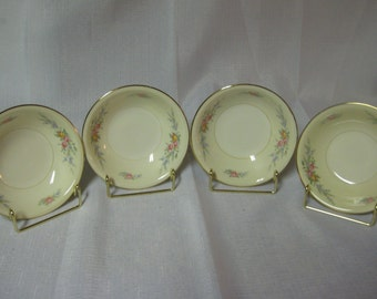 """Homer Laughlin """"Cashmere""""? berry bowls - set of 4 - Made in the USA - Pink, Yellow and blue flowers"""