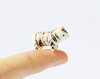 Miniature Ceramic Tiger Totem - Tiger Figurine, Ceramic Figurine, Terrarium Figurine, Small Animal ,Ceramic Animal, Porcelain Tiger