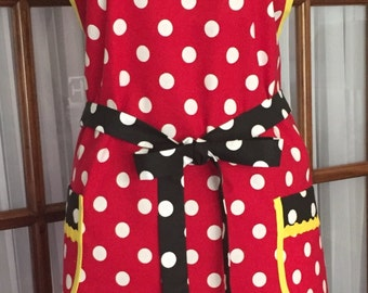 Minnie Mouse Inspired Apron - Minnie Mouse Apron - Polka Dot Apron - 1940s Retro Pin Up Apron - Vintage Apron