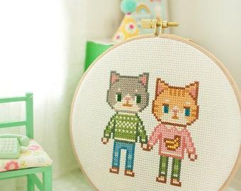 cat couple - cross stitch pattern PDF, JPG - Instant download
