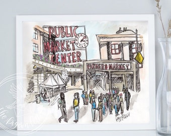 Pike Place Market Urban Sketch | Seattle Public Market | Farmers Market Watercolor Illustration | Washington