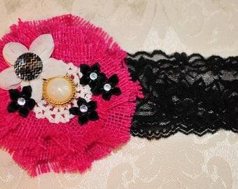 Pink and Black Headband, Burlap Headband, Baby Headband, Toddler Headband, Newborn Photos, Lace Headband
