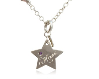 Silver Pendant Star with individual personalized engraving, Amethyst and anchor chain, gifts for baptism, graduation, confirmation