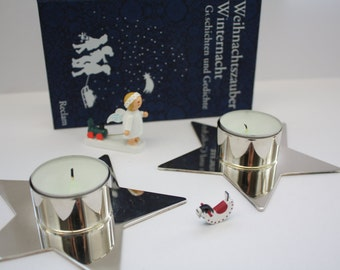 Silver plated star with tealight, Christmas decoration